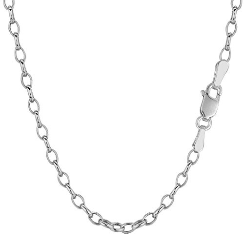 Oval Rolo Link Necklace - 14k White Gold Oval Rolo Link Chain Necklace, 3.2mm, 18