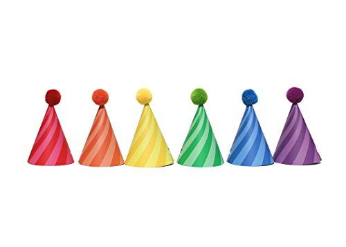 Sweet Rainbow - DIY Mini Party Hats | 12 Pack | Birthday Hat | Tiny Hat | Pom Pom Detail | Rainbow | Candy Swirl, Stripes | Rainbow Birthday Hat | Candy Shop Theme | Kids Party Hat -