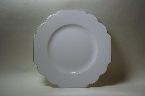 Baroque White Geometric Design Silver Rimmed Dinner Plates - 10.5