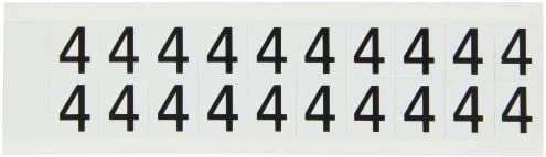 B-946 High Performance Vinyl Black On White Color Indoor Or Outdoor Number Label Legend 4 Brady 9712-4 97 Series 3//4 Height 21//32 Width 5 Labels Per Card