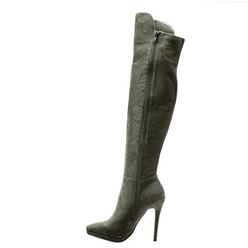 Angkorly - Zapatillas de Moda Botas Botas Altas stiletto sexy mujer strass Talón Tacón de aguja alto 11.5 CM - plantilla Forrada de Piel - Gris
