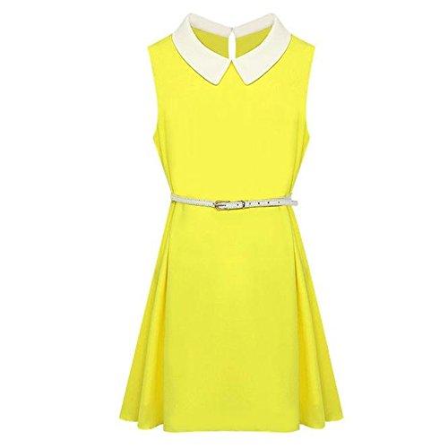 Brand me Women Summer Sweet Peter Pan Collar Chiffon Sleeveless Dress (Medium, Yellow)