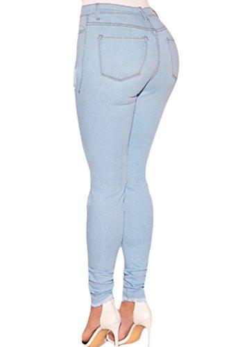 Dokotoo Damen Skinny Jeans Wash Destroyed, hohe Taille Gr. (Größe38-40)XL, Hellblau