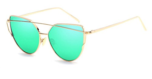 Cat Eye Mirrored Flat Lenses Street Fashion Metal Frame Women Sunglasses (Gold Frame/Green (Round Green Cats Eye)
