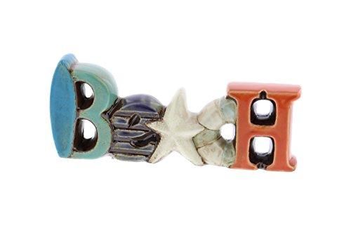 - Deco 79 56759 Stoneware Beach Decorative Sign, Blue/Cyan/Darkblue/White/Orange
