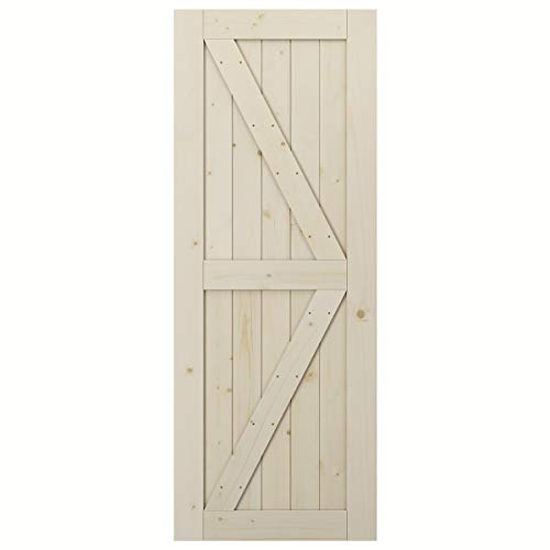 SmartStandard 32in x 84in Sliding Barn Wood Door Pre-Drilled Ready to Assemble, DIY Unfinished Solid Spruce Wood…