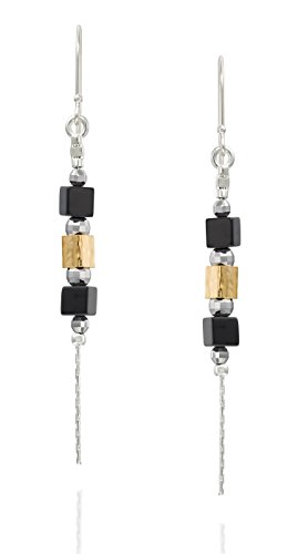 Two Tone 925 Sterling Silver and Gold Plated Black Onyx Dangle Earrings Chic & Stylish Women's Jewelry
