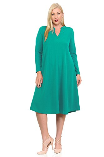 Foam Mandarin (Pastel by Vivienne Women's Textured Trapeze Midi Dress with Mao Collar XX-Large Seafoam)