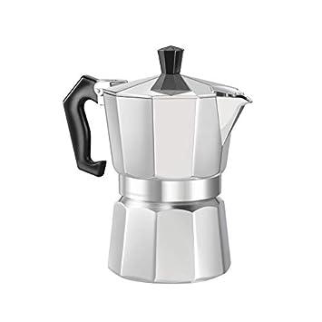 Candybush Cafetera Moka de Aluminio de 8 ángulos con Estufa Espresso y cafetera Moka Taza de café Espresso Continental Moka Percolator Pot 3cup / 6cup: ...