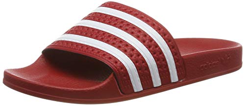 adidas Originals Women's Adilette Slide Sandal, White/Scarlet, 7 M US