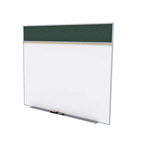 Ghent 5 x 10 Feet Combination Board, Porcelain Magnetic Whiteboard and Vinyl Fabric Bulletin Board, Ebony , Made in the USA