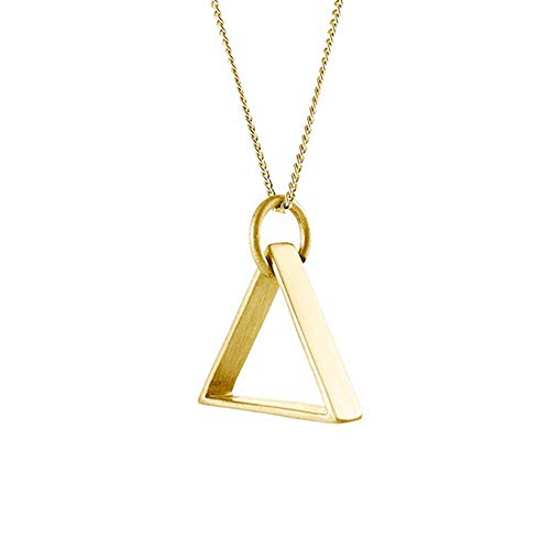 SENFAI Rose Gold Simple Charm Best Match for Clothes Necklace Jewelry Triangle Pendant Necklaces for Women (Gold, 16)