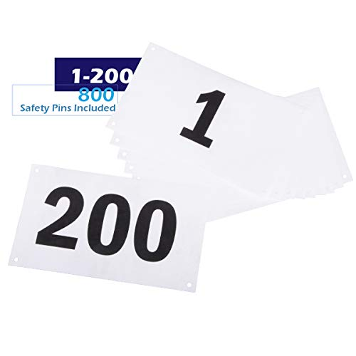 Azarxis Running Bib Competitor Numbers with Safety Pins, Running Numbers 1-100 or 1-200, Tyvek Tearproof & Waterproof 4 x 7 Inches for Marathon Races and Events (Numbers 1-200)