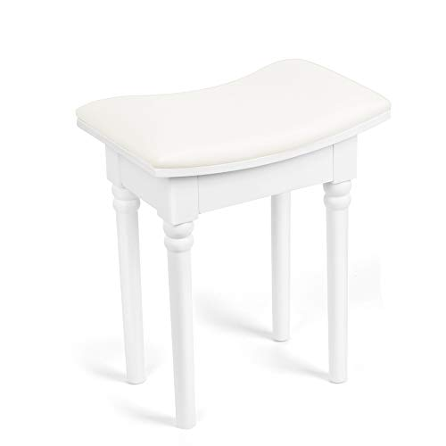 Excellent Vanity Stool Vanity Modern Pvc Seat Surface Makeup Dressing Stool Padded Bench With Rubber Wood Legs Load Bearing 297Lb No Assembly Size 15 3 4L X Short Links Chair Design For Home Short Linksinfo