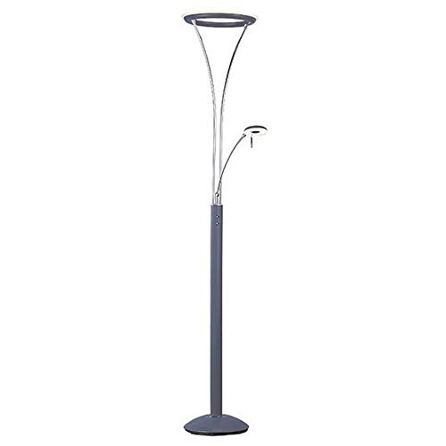 ET2 E41050-PLPC Eco-Task LED Floor Lamp, Platinum / Polished Chrome Finish, Glass, PCB LED Bulb, 18W Max., Damp Safety Rated, 3000K Color Temp., Standard Triac/Lutron or Leviton Dimmable, Fabric Shade - Task Lamp Eco Floor