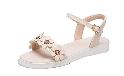 AalarDom Women's Buckle Low-Heels Pu Solid Open-Toe Sandals, TSDLH007625, Beige, (Satin Sandal Rhinestone Ornament)
