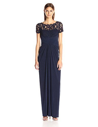 Adrianna Papell Women's 3/4 Sleeve Gown with Lace Bodice and Jersey Draped Skirt