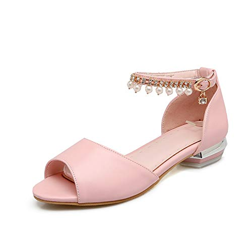 - Fashion Popular Solid Color Women Sandals Low Heel pu Leather Sweet Buckle Summer Shoes,Pink,13