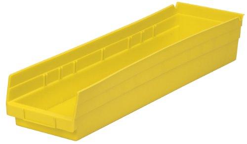 (Akro-Mils 30164 24-Inch by 6-Inch by 4-Inch Plastic Nesting Shelf Bin Box, Yellow, Case of 6)