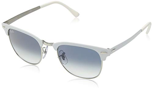 - Ray-Ban RB3716 Clubmaster Metal Square Sunglasses, Silver On White/Blue Gradient, 51 mm