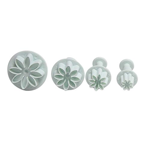 Potelin Daisy Mold Plunger Cookie Cutter Small Daisy Spring Embossed Mold for Fondant Candy Making Cake Baking Sugar Craft DIY Chocolate Set of 4