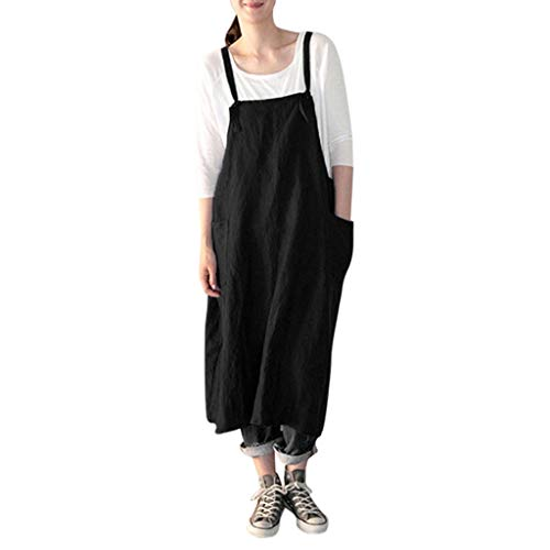 - TIFENNY Women's Square Cross Tunic Aprons Dresses with Pockets Pinafore Dress Fashion Loose Casual Dresses Black