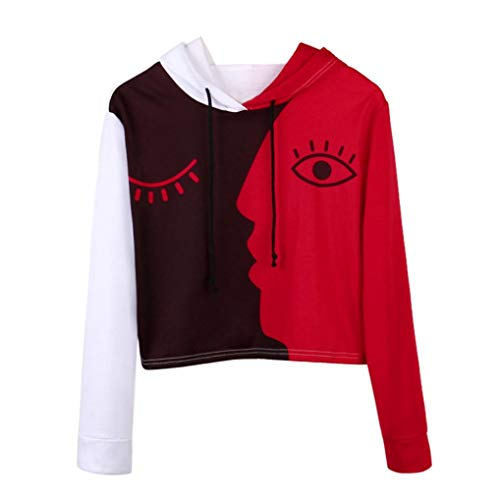 FEITONG Womens Splicing Face Hooded Sweatshirt Blouse Pullover Tops(L,White) ()