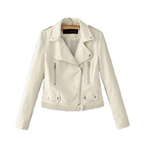 KEYUEyurei Autumn Winter Women Faux Leather Jackets Slim Short Section Motorcycle Female Black White Pink PU Jacket White S