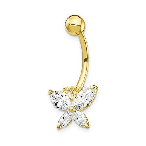 Butterfly Cubic Zirconia Belly Ring - 10k Yellow Gold Large Cubic Zirconia Cz Butterfly Belly Button Rings Screw Navel Bars Body Piercing Naval Fine Jewelry Gifts For Women For Her