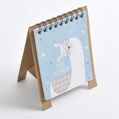 Tischkalender Kalendarien 2020 Jahr Kawaii Cartoon Tiere Tischkalender DIY Kraftpapier Mini-Kalender Terminplaner 2.019,08 bis 2.020,12 (Color : 1)