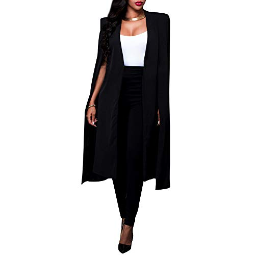 Satin Trench Jacket - VERO VIVA Women's Open Front Cape Trench Duster Coat Longline Casual Blazer Suit(XL,Black)