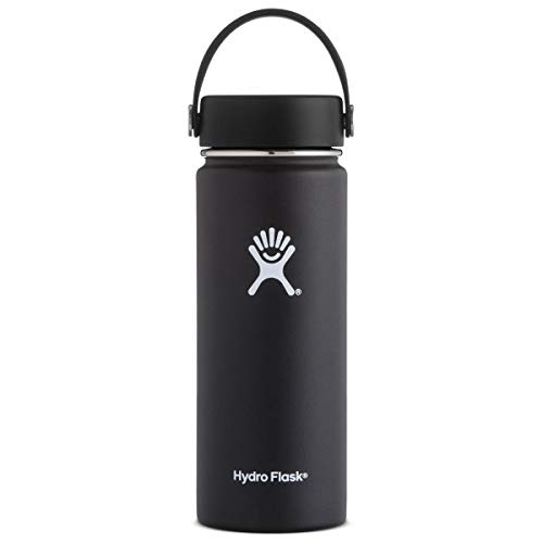 Matte Finish White Thermal - Hydro Flask 32 oz Double Wall Vacuum Insulated Stainless Steel Leak Proof Sports Water Bottle, Wide Mouth with BPA Free Flex Cap, Black