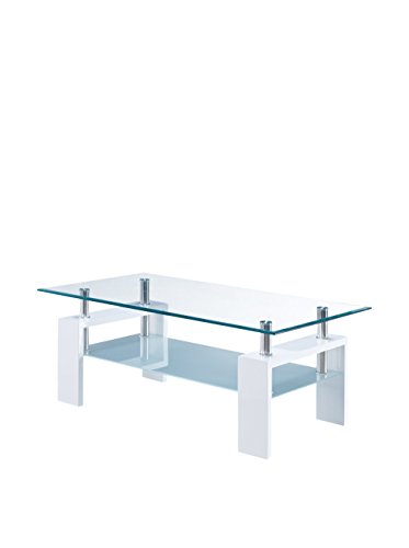picture of Global Furniture Clear/Frosted Occasional Coffee Table - Glossy White