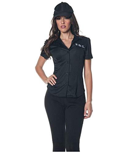 Underwraps Women's Fbi Fitted Shirt, Black, Medium ()
