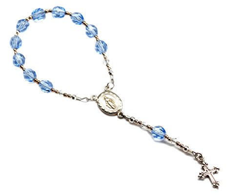 Sterling Silver Baptism Baby Rosary in Blue