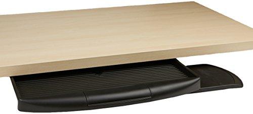Mind Reader teclado para debajo del computadora soporte con cierre compartimento de utensilios de escritura, color negro
