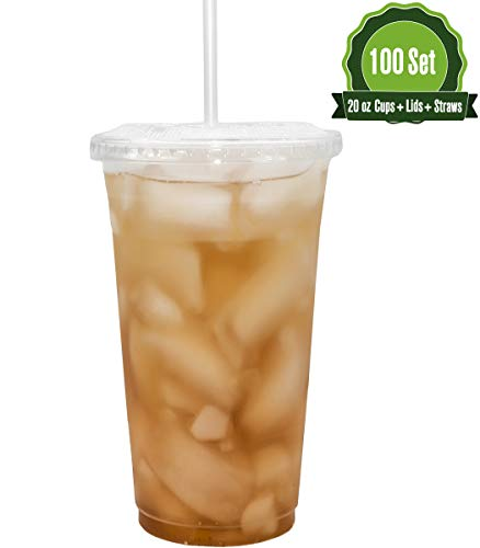 20oz Clear Plastic Cups with Flat Lids and Straws (100 Set)