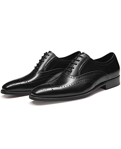 FRASOICUS Men's Dress Shoes with Genuine Leather in Classic Brogue Elastic Band Oxford Formal Shoes for Men