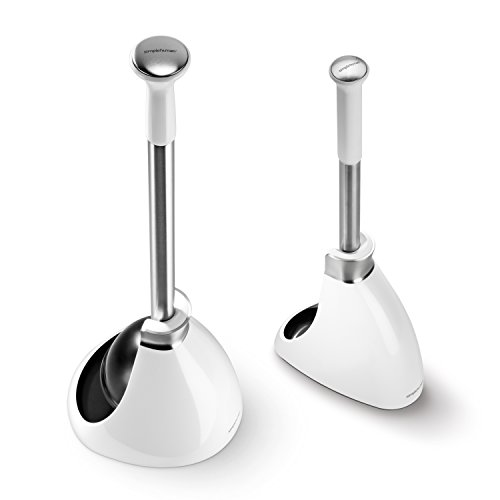 simplehuman Toilet Brush and Toilet Plunger Set - White