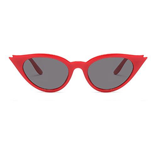 Cat Cadre Eye Rétro Ganz de Lens pour Mod femmes Grau soleil Résine Fuyingda les Style Ovale Vintage lunettes Rot wp7BExcgqf