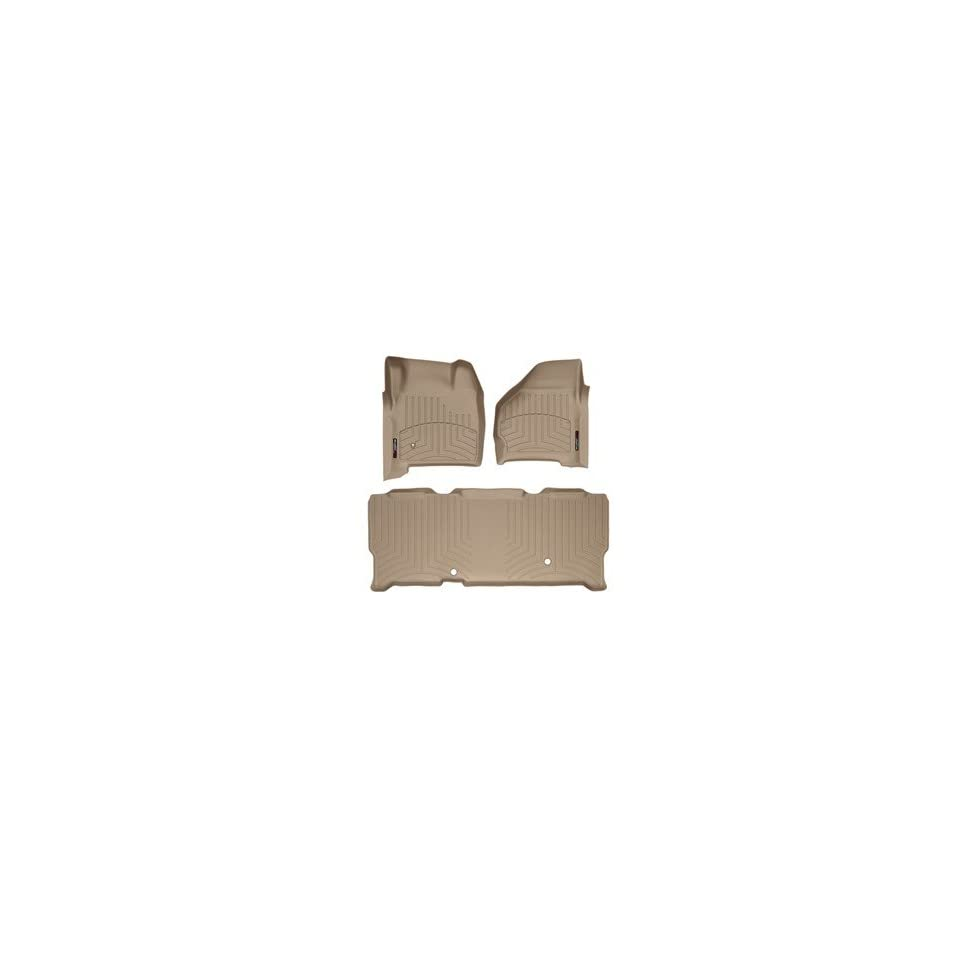 1999 2007 Ford Super Duty (F 250/F 350/F 450/F 550) SuperCab Tan Weathertech Floor Liner (Full Set 1st & 2nd Row)