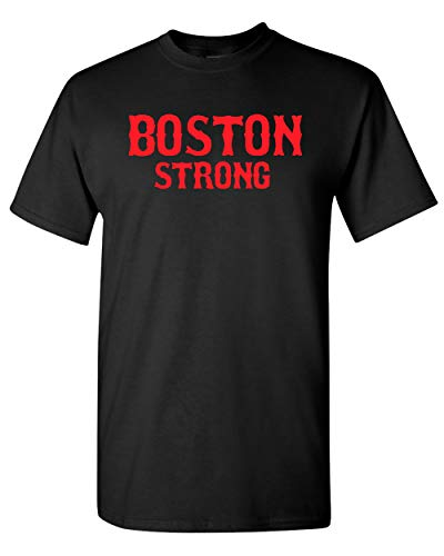 Boston Strong Adult State T-Shirt Tee (XXXX Large, Black w/Red)