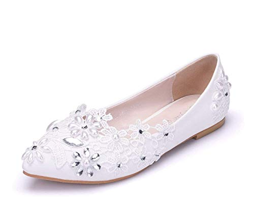 Satin Wedding Flowers Flats colore Ladies Strass 2 Uk Fashion Qiusa White Ballet Dress Dimensione wnUqg64f