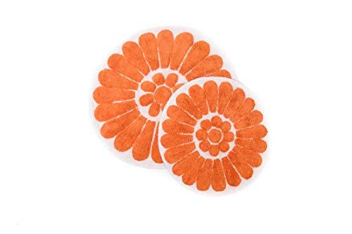 Chesapeake Bursting Flower 2 Pc. White & Coral Round Bath Rug Set 45953 (24