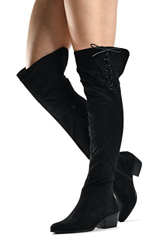 LUSTHAVE Womens Over The Knee Boots Stacked Low Heel Western Kate Lace Up Almond Toe Knee High Tall Boot Black Lace