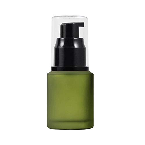 1PCS 30ML 1OZ Green Refillable Frosted Glass Lotion Press Bottle with Pump Head and Clear Cap Travel Jar Vials Liquid Foundation Dispenser Essence Lotion Emulsion Storage Holder Cosmetic Container
