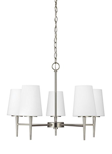 Sea Gull Lighting 3140405EN3-962 Driscoll Five-Light Chandelier with Cased Opal Etched Glass Shades, Brushed Nickel Finish