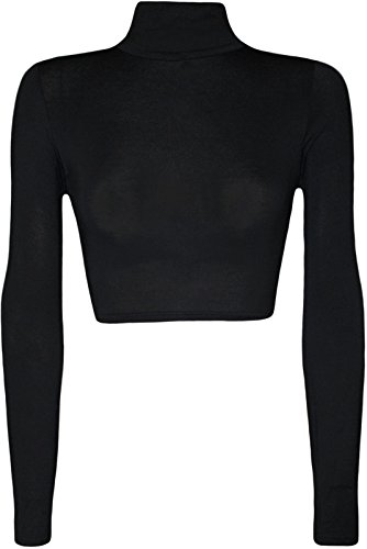 Womens Turtle Neck Crop Long Sleeve Plain Top-Thin Fabric -