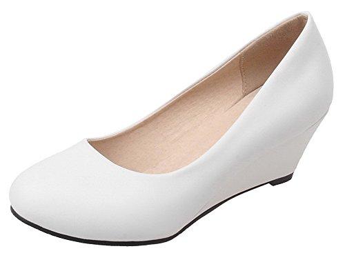 AgeeMi Shoes Damen Slip On Spitz Schließen Zehe Niedriger Keilabsatz Pumps  EuD73 Weiß