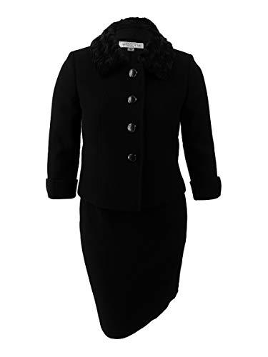 Tahari ASL Women's Faux-Fur-Collar Skirt Suit Black 6 -
